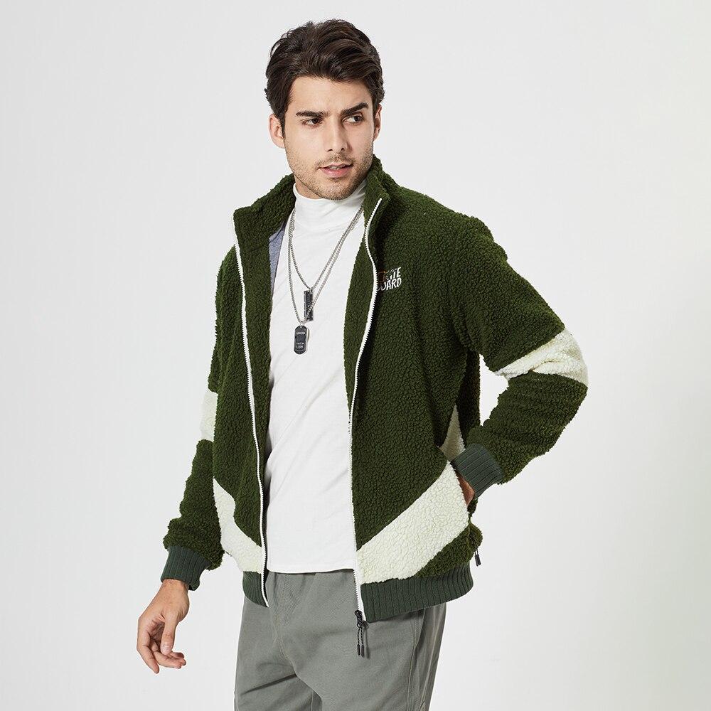 Мужская толстовка на молнии, Повседневная Толстая куртка из овечьей шерсти, теплая кашемировая толстовка, пальто, мужская куртка с карманам...