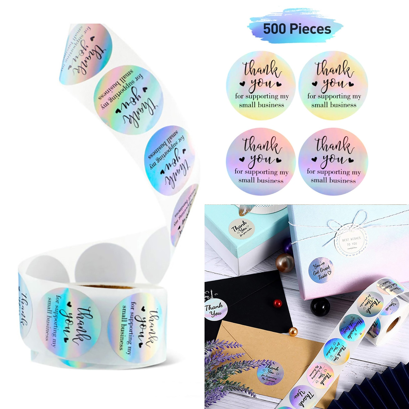500pcs/roll 3.8cm Rainbow Laser Lover Thank You Stickers Students Gift Business Wrapping Decorative Label Stationery Sticker