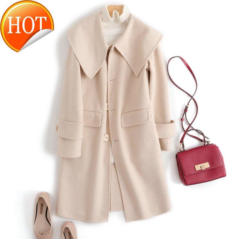 Женское кашемировое пальто с большим отложным воротником, модель средней длины из 2020 100% шерсти на осень и зиму