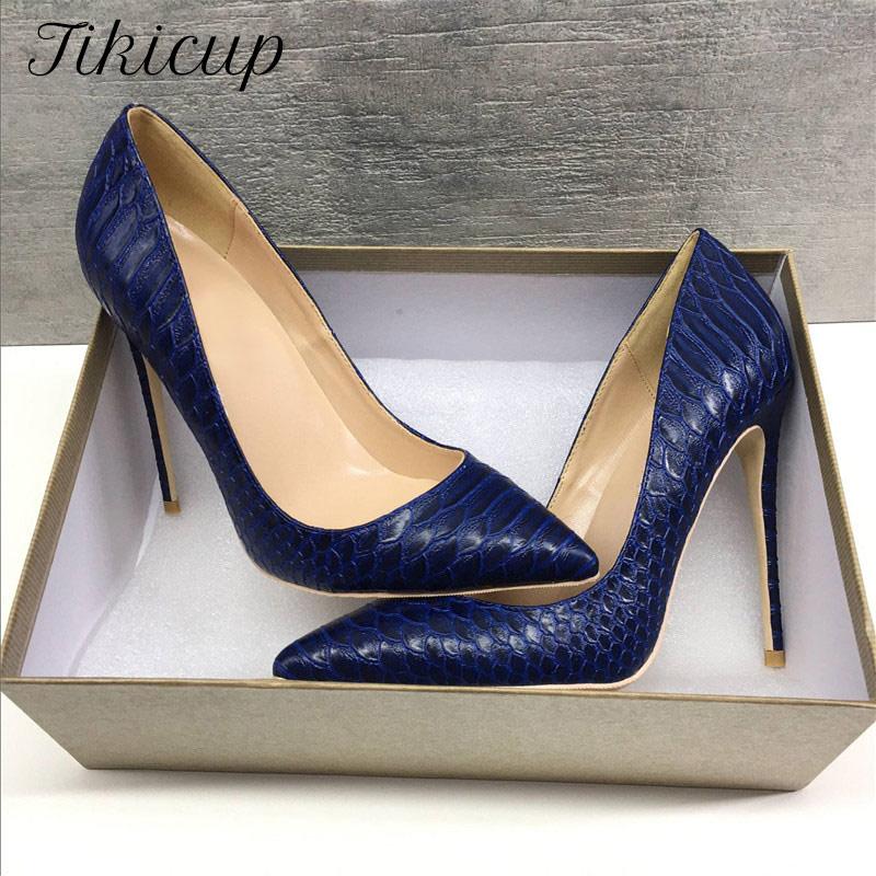 Tikicup-حذاء نسائي بكعب عالٍ بطبعة التمساح ، حذاء أنيق بكعب عالٍ ، متوفر بأحجام كبيرة 34-45