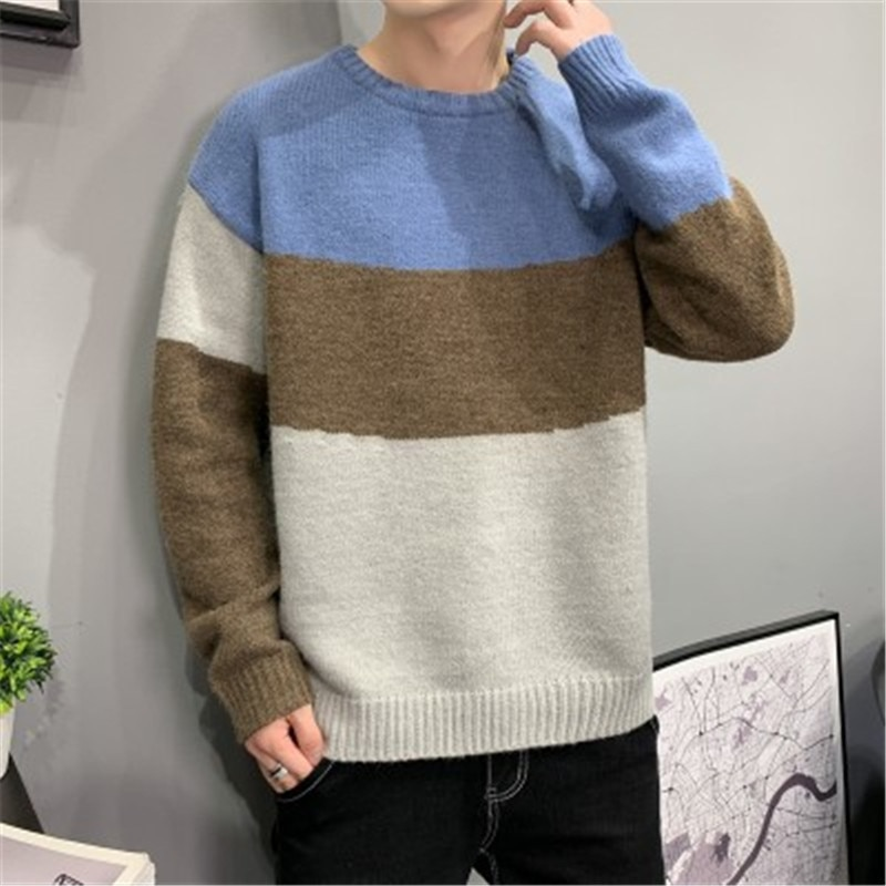 Pullovers Men Patchwork Long Sleeve Panelled Autumn Winter Korean Style 2021 New Trendy Leisure Sweaters Teens Knitted Stylish