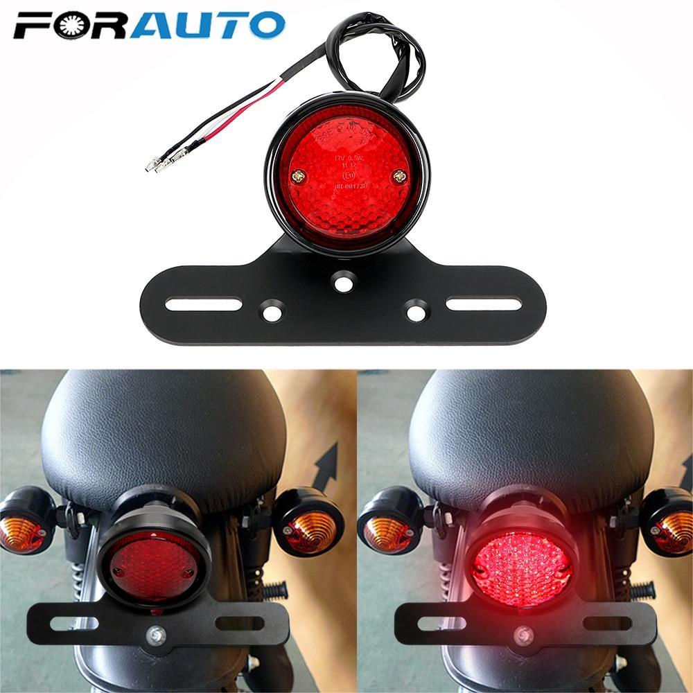 FORAUTO DC 12V LED Moto Rear Lights Motorcycle Tail Brake Stop Light Racer For Chopper Bobber Motorbike Accessories