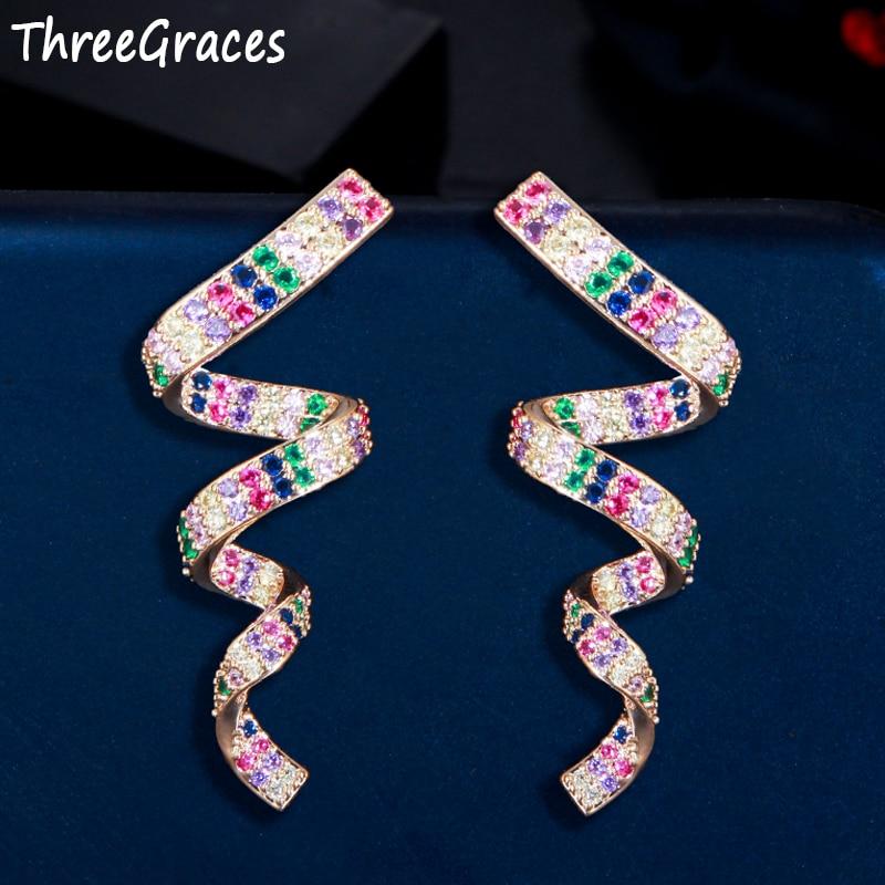 Женские длинные висячие серьги ThreeGraces, модные ювелирные изделия с разноцветным кубическим цирконием и желтыми золотыми лентами, ER497