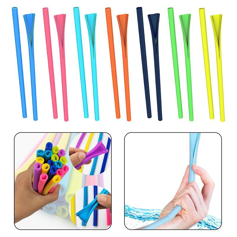 Reusable Silicone Drinking Straws Set Long Flexible Straws Detachable Foldable Portable For Tumbler Bar Party Straws