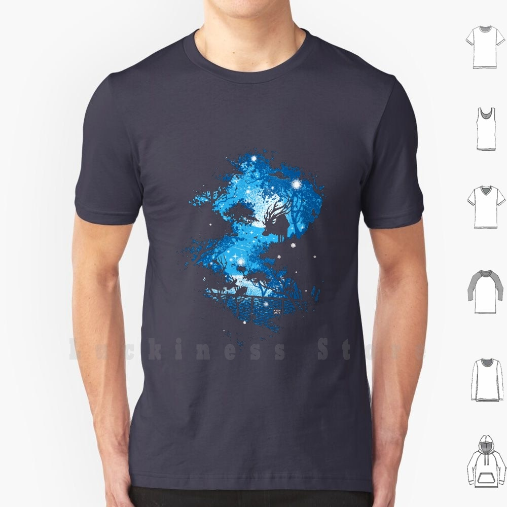 Blue Moon T Shirt Cotton Men DIY Print Deer Forest Blue Night Keep Out Artistic Moon Cosmic Robson Borges Love Negative