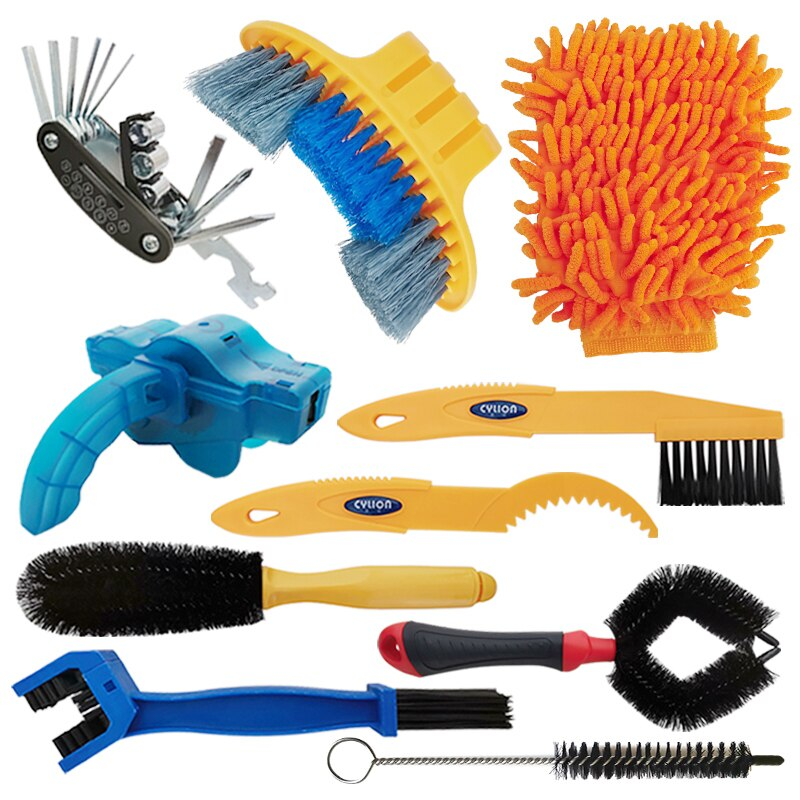 Bike Cleaning Kit Bicycle Chain Cleaner Clean Tire Brush Road MTB Cycling Cleaning Gloves Kits Cleaners Tool for Mountain, City