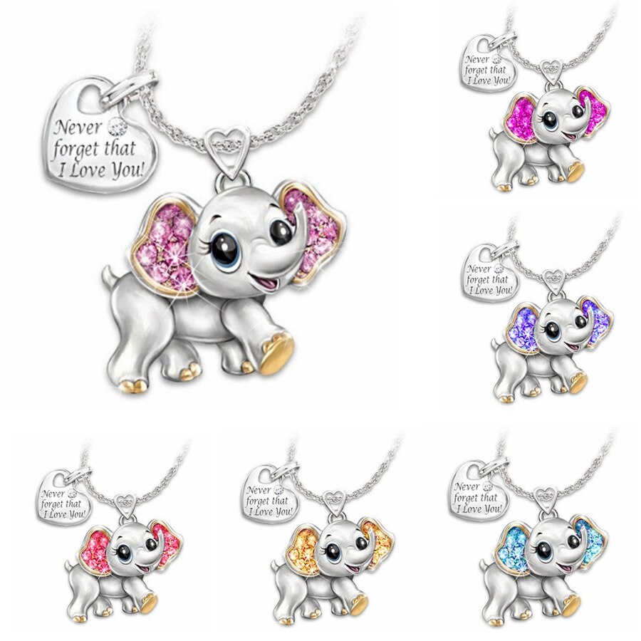 2020 New Women Necklace Pink Blue Cute Elephant Necklace Fashion Cartoon Animal Necklaces For Kids N