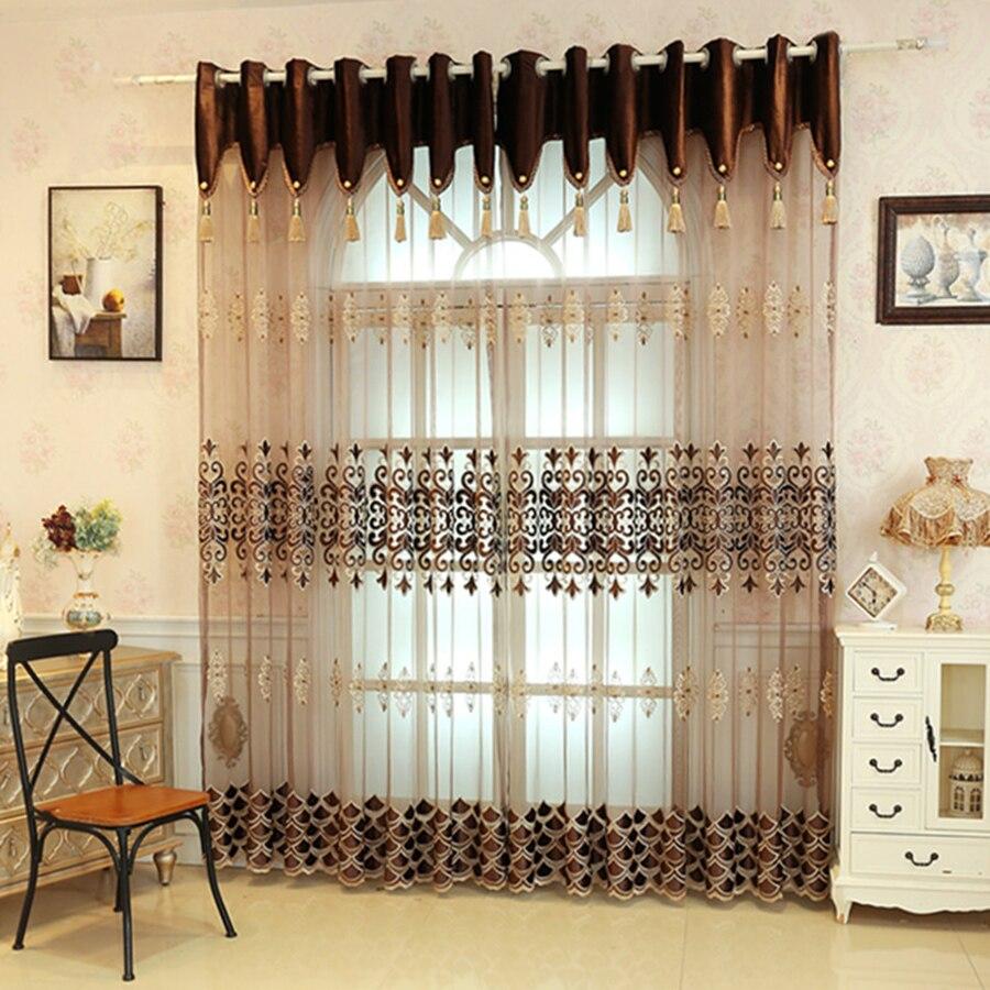 الفاخرة البني التطريز حساسة غرفة نوم ويندوز الفوال الشاش الستائر الكلاسيكية الأوروبية البيج الستارة لغرفة المعيشة #3