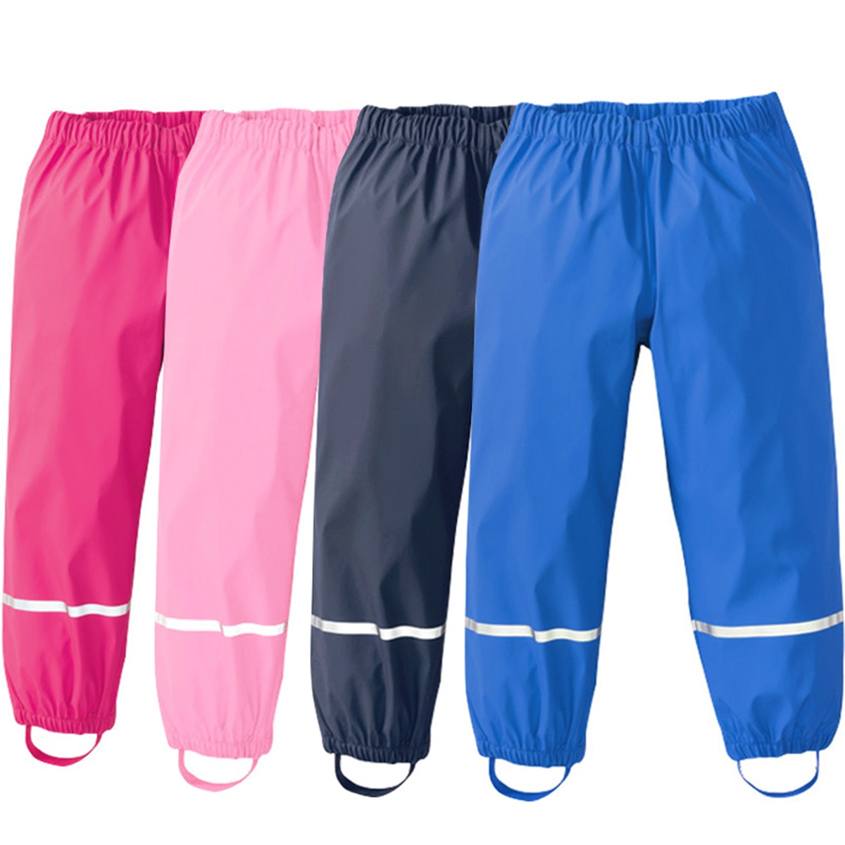 Kids Rain Pants Boys And Girls Baby PU Waterproof Pants Outdoor Windproof Trousers Children Clothes