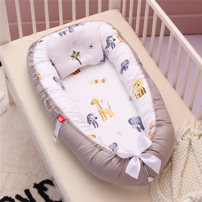 Portable Travel Bed Baby Nest Newborn Bed for Boys Girls Infant Outdoor Cotton Crib Bumper