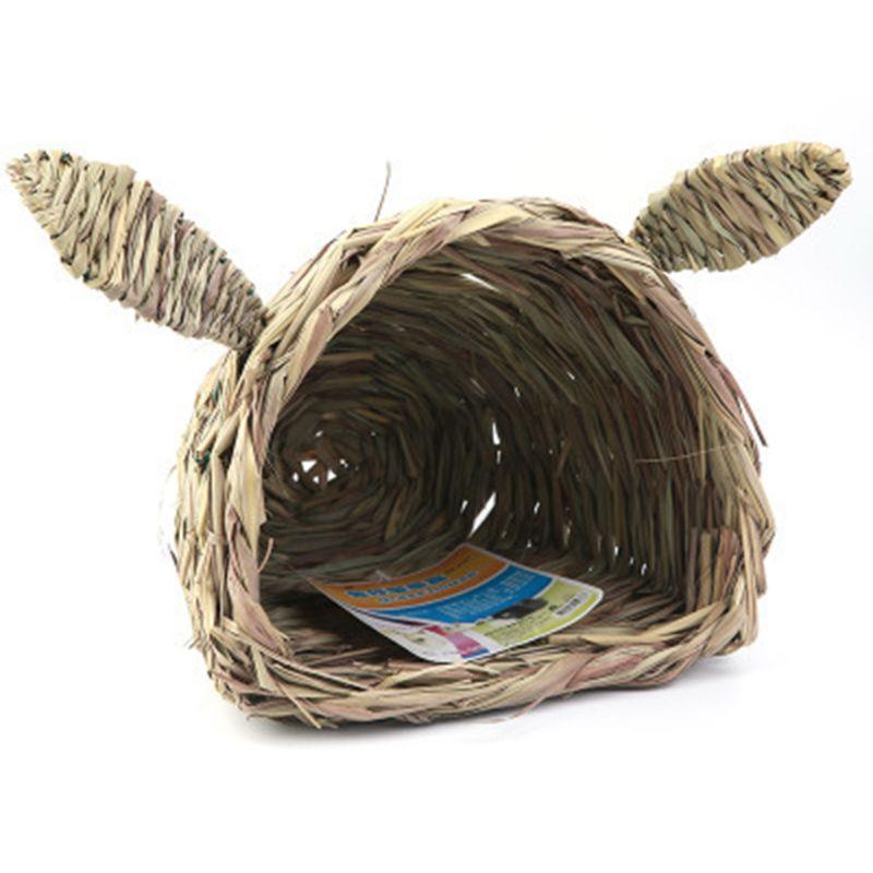 Casa de césped-choza tejida plegable para colocar o dormir protege las patas del conejo de las jaulas de alambre mordisqueando y royendo