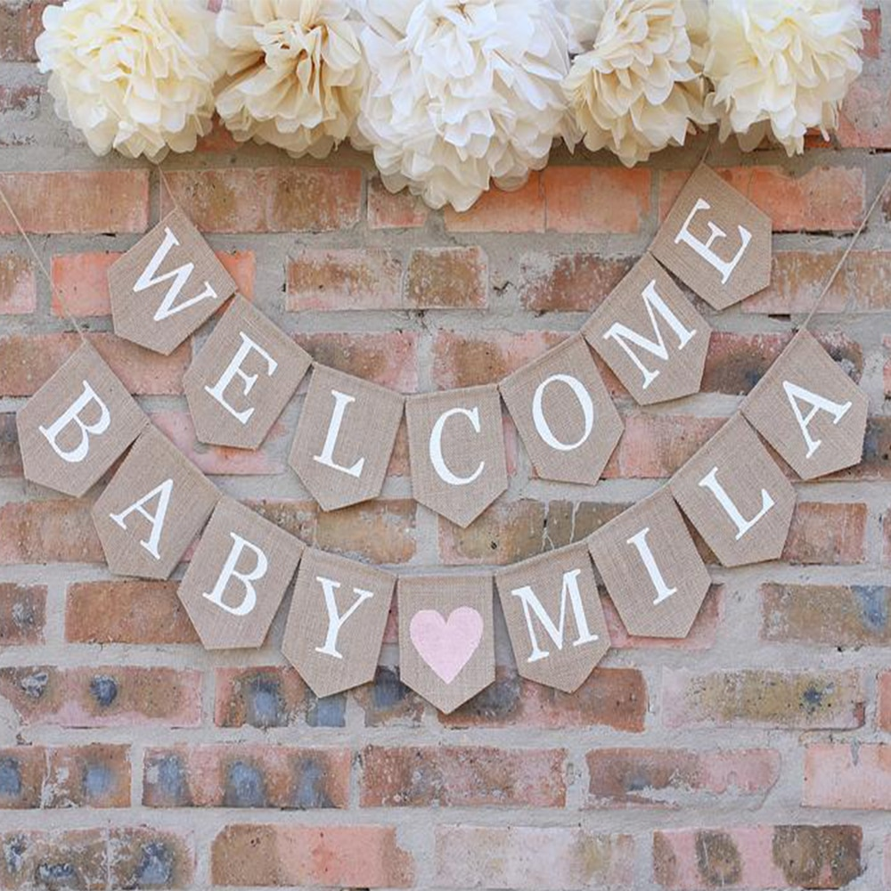 Banderín de bienvenida profesional de la foto del bebé, pancarta de arpillera del bebé, pancarta personalizada del bebé, fiesta rústica del bebé, bienvenida del bebé, signo de bienvenida del bebé