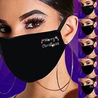 mouth mask luxury design Christmas Rhinestone Pattern Black Mask Cotton Mask Masque Jetable Adulte Masque En Tissu Lavable