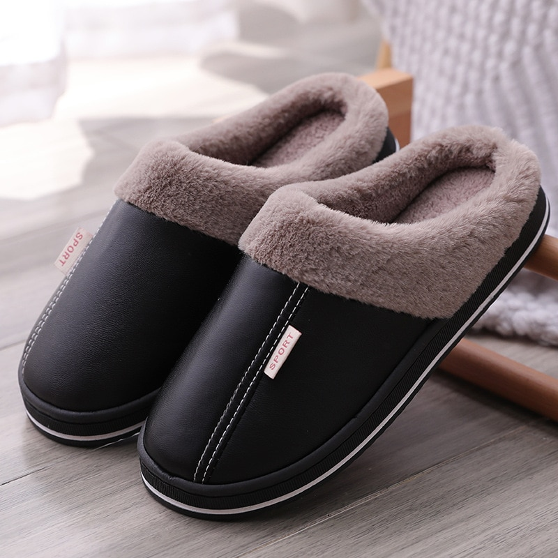 PU Waterproof Warm Slippers Men Winter Plush Indoor Home Shoes Woman Soft Comfortable Shoes Sewing Platform Slippers Slides 2021 2019 winter women home slippers family couple warm plush slippers indoor household woman shoes bedroom unisex comfortable soft