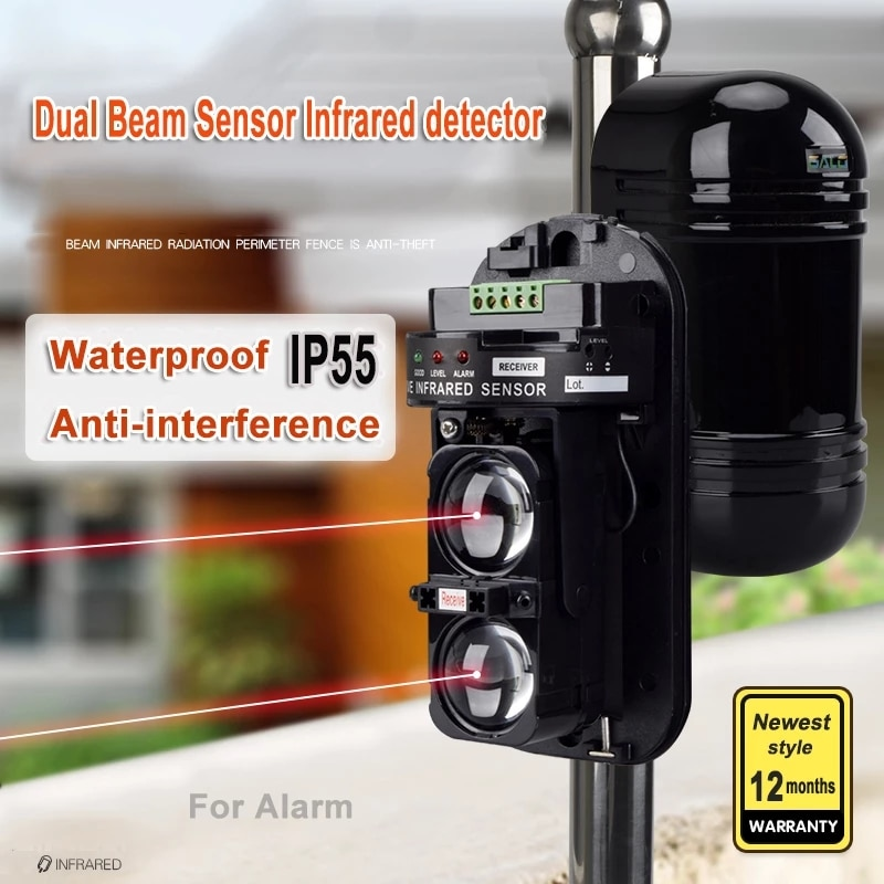 For Gates, Doors, Windows Protection Against Hacking System External Positioning Alarm Detector Infrared Beam Sensor Barrier