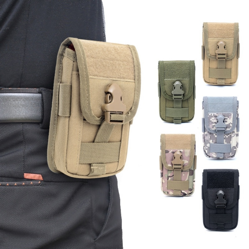 5.5 Inch Molle Phone Pouch Card Carrier Holder EDC Tactical Waist Pack Hunting Bags Mobil Phone Case Running Cell Phone Holster