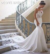Sexy sirène robe De mariée doux Satin brodé dentelle robe De mariée robe De Noiva