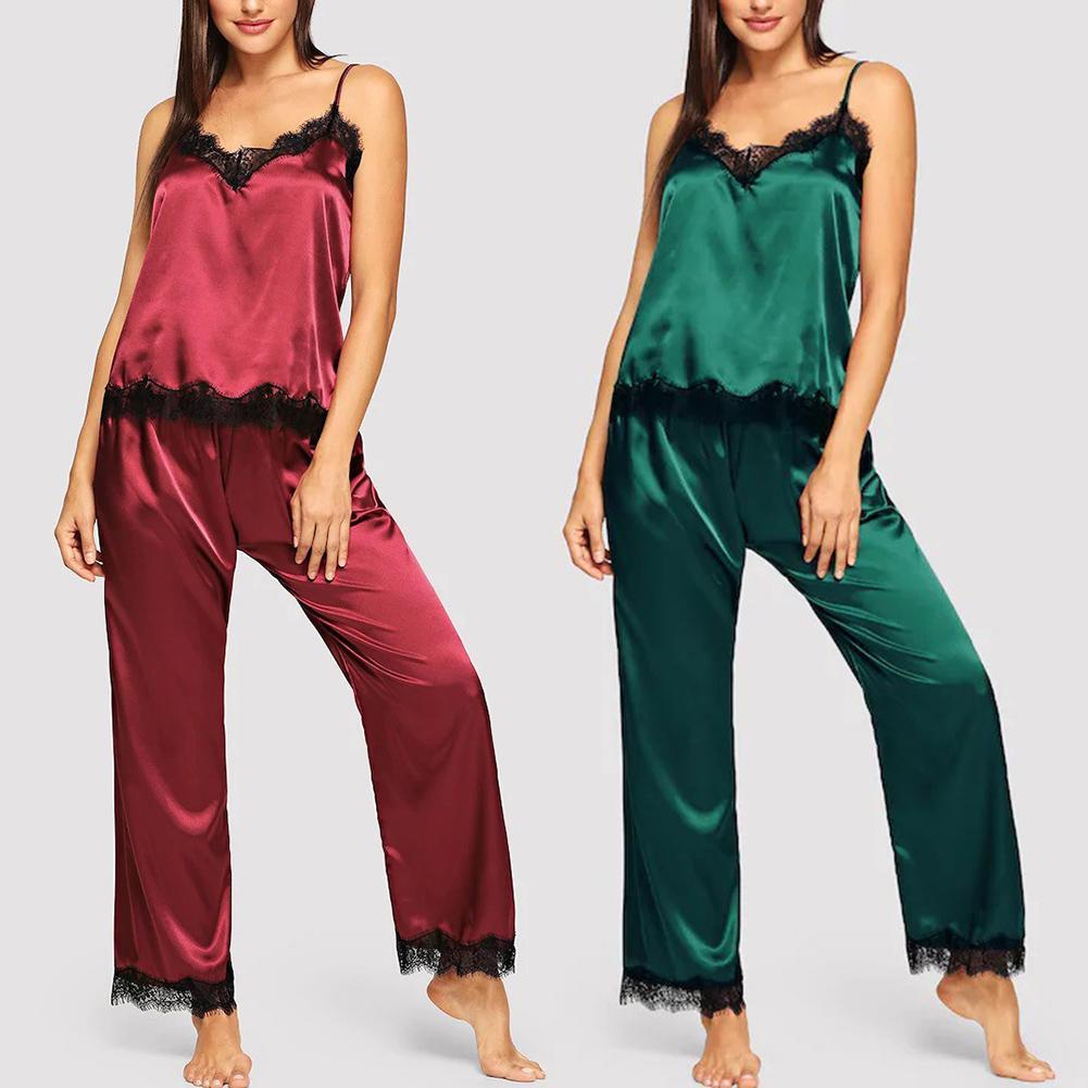 2Pcs Mulheres Sexy Decote Em V Rendas Patchwork Camisola Calças Compridas Sleepwear Pijamas roupas de dormir feminina красивое женское белье