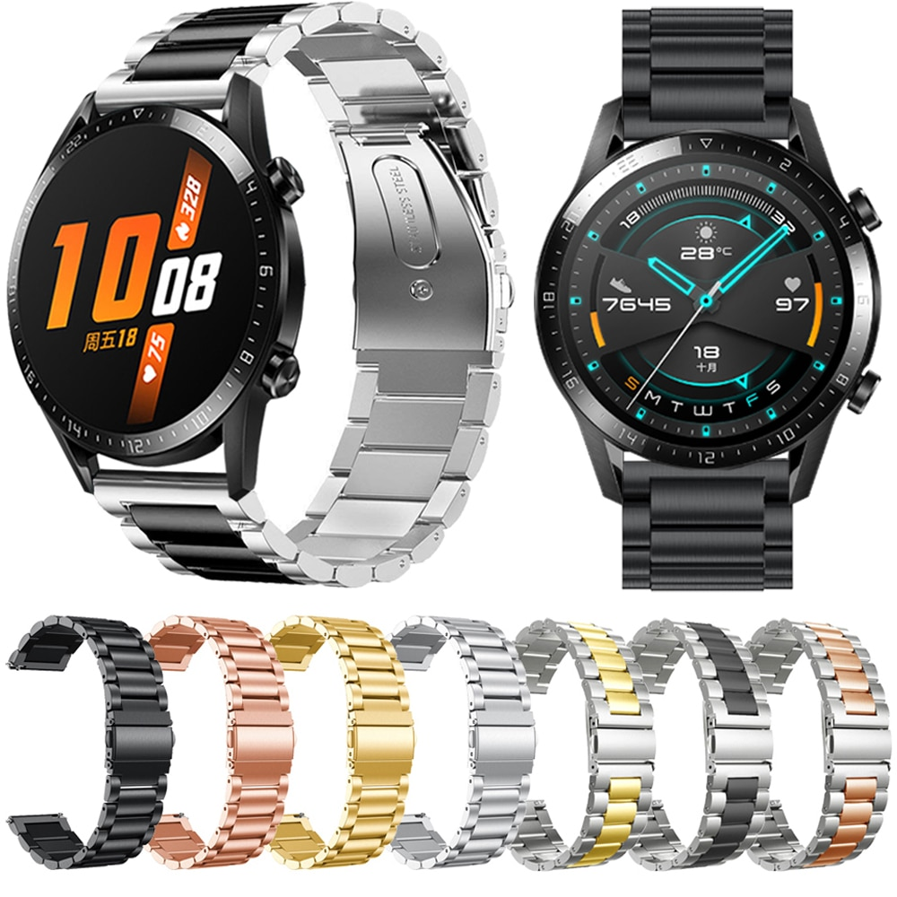 Conjuntos de correa de reloj para Huawei GT 2E / Honor watch Magic /Huawei GT 2 GT2 46mm 22mm pulsera de Metal de acero inoxidable correa de muñeca