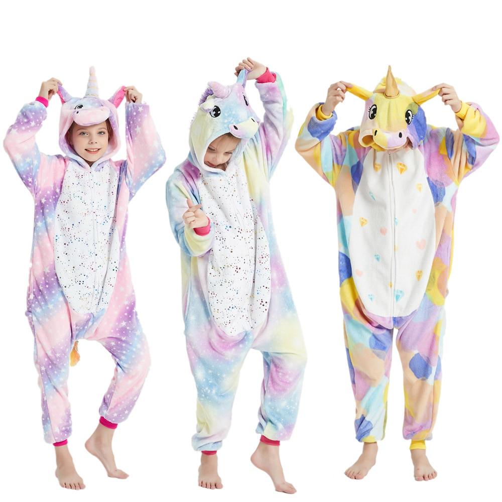 Цельная Пижама с капюшоном и единорогом для девочек Детские комбинезоны Одежда