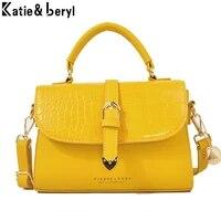 fashion simple womens top handle designer handbag high quality pu leather women messenger bag alligator shoulder crossbody bags