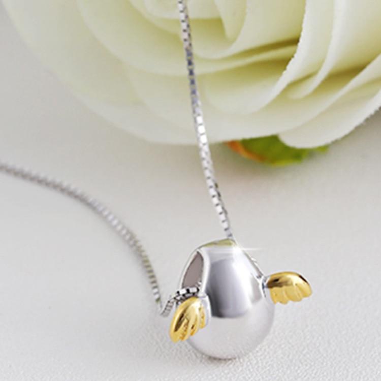 CBO09 S925 قلادة الترقوة من الفضة الإسترليني على شكل بيضة الملاك