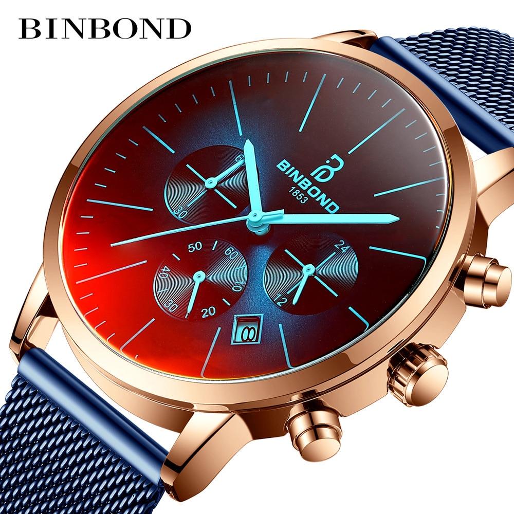 BinBond Fashion Men's Watches Luxury Military 30 Meters Waterproof Clock Male Casual Mesh Belt Sport Quartz Watch Men Wristwatch