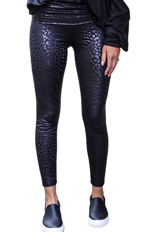 Novo sólido preto brilhante leopardo texturizado leggings sexy preto magro couro falso leggings femininas ropa de mujer vetement femme calças