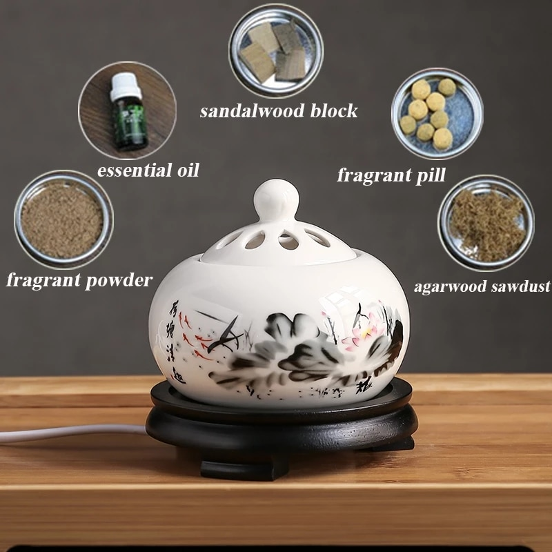 220V Timing Thermostat Electric Essential Oil Burner Sandalwood/Powder/Pill Aroma Diffuser for Yoga