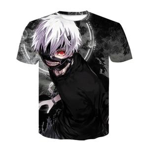 Strange things Tokyo Ghoul men 3D graphic t shirts Anime Ken Kaneki print T shirts Cartoon loose Cotton tshirts Hipster tops