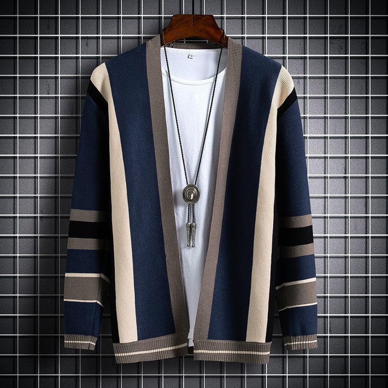Suéter De empalme para Hombre, cárdigan De moda con contraste, cuello levantado,...