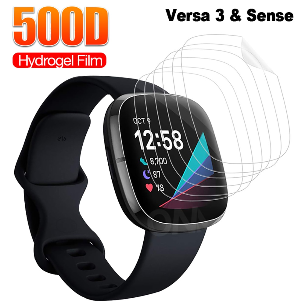 Full Coverage Screen Protector for Fitbit Versa 3 & Sense Soft Hydrogel Protective Film for Fitbit Inspire 2 Watch (Not Glass