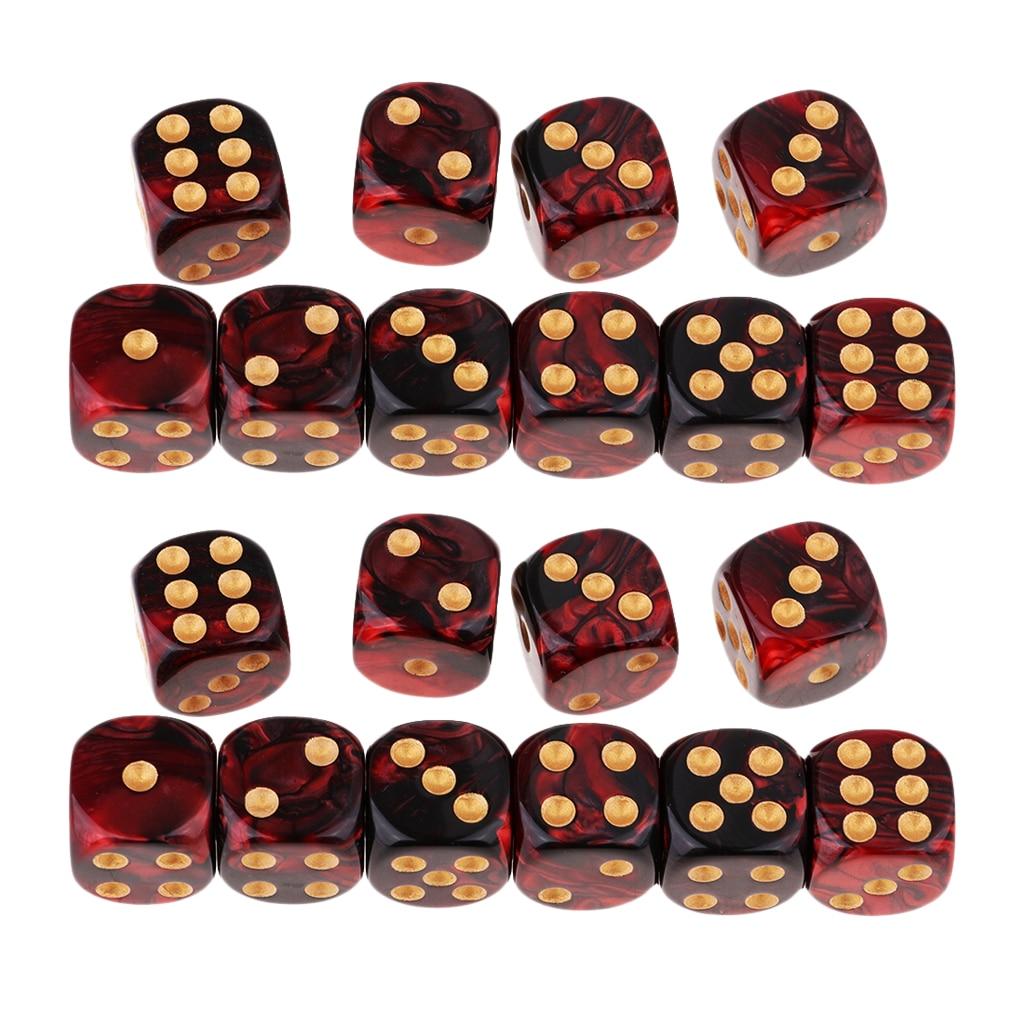 20x duas cores seis face 16mm d6 resina role play jogo jogo dados vermelho + preto