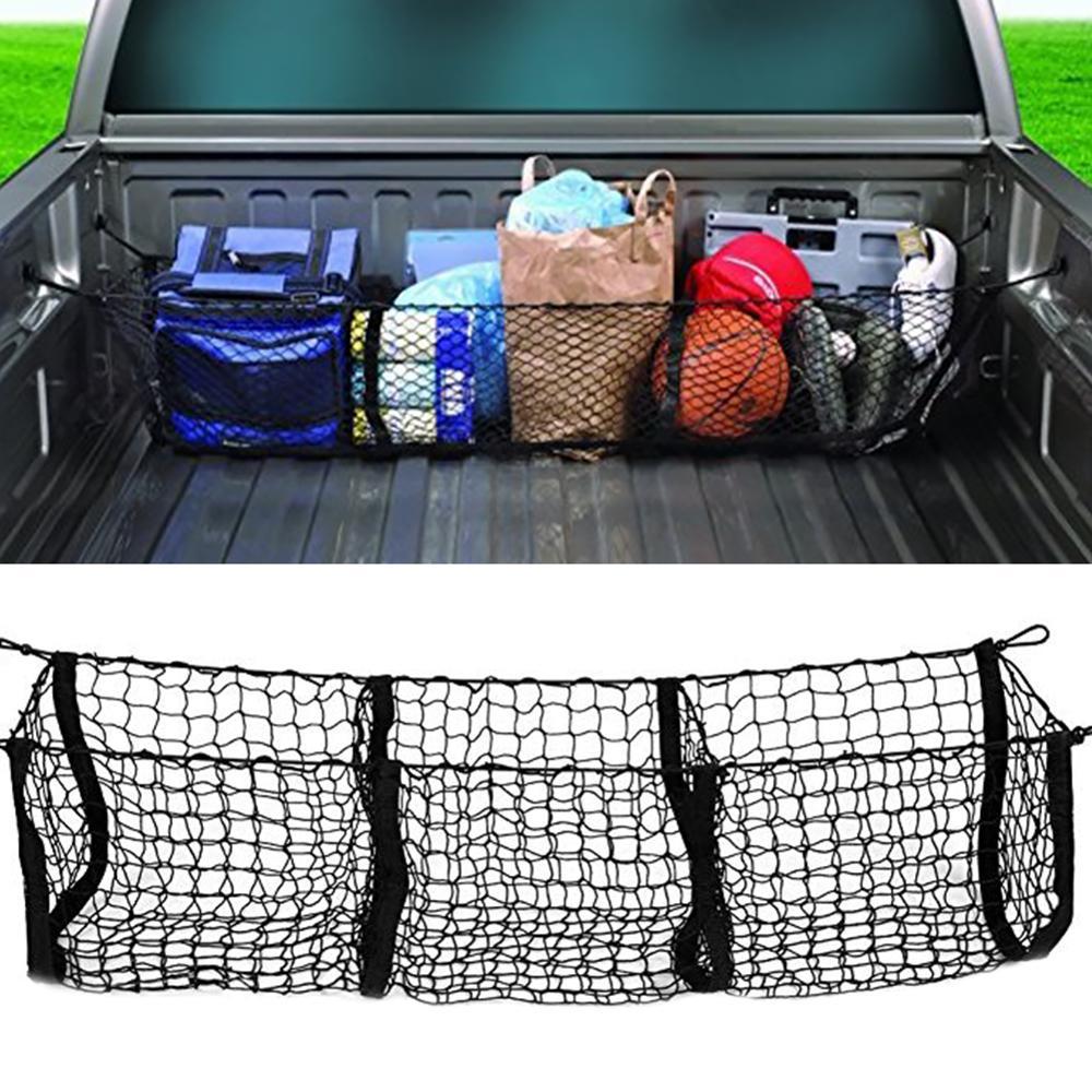Universal Car Accessories Pickup Trucks Car Trunk Net Bag Three Grid Luggage Three-Dimensional Net Pocket
