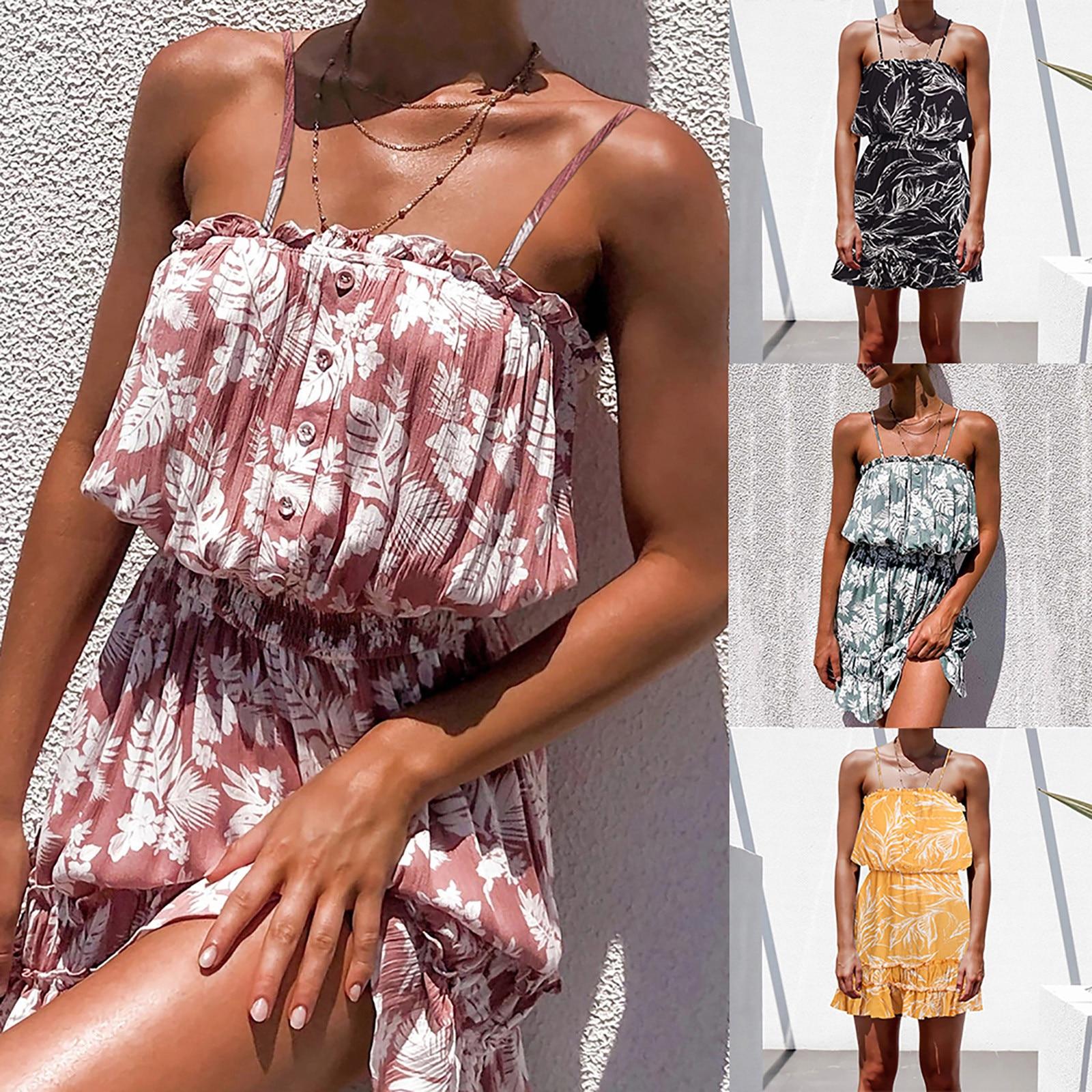 Women Fashion Print Strapless Sleeveless Summer Dress Casual Sexy Slim Floral Dress платье 2021 женское платье vestido de mujer фото