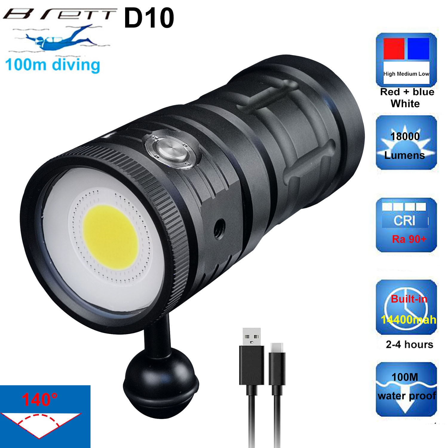 D10 LED Diving Flashlight Super Bright 18000Lumens COB LED 100M Waterproof Underwater Tactical Torch White Blue Red Fill Light