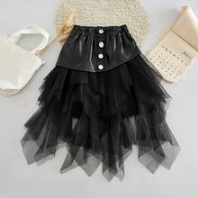 Children Clothing 2020 New Girls Skirts Brand Kids Mesh Leather Skirt Stitching Baby Girl Skirts