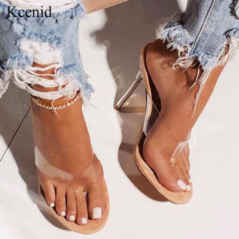 Kcenid 2020 verano moda transparente PVC flip flop verde serpentina sexy tacones altos cristal zapatos de fiesta zapatos talla 42