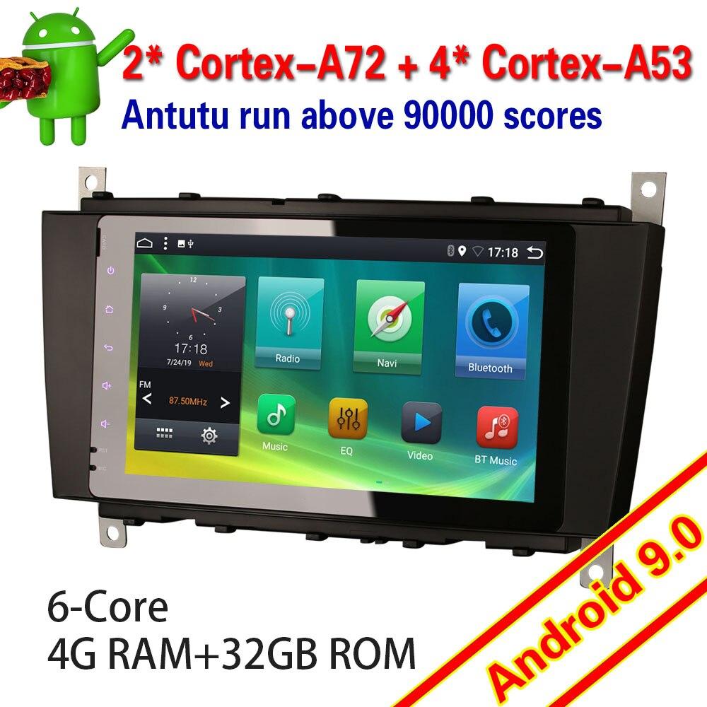 6283 android 9.0 estéreo do carro 6 núcleo para mercedes benz classe c/clk/clc w203 dab + tdt 4g wi fi toque autoradio multimídia jogador