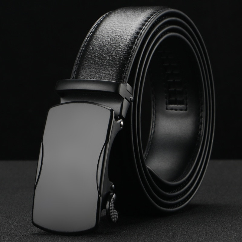Peikon Luxury brand Male Genuine Leather Strap Belts 2016 For Men Top Quality thin Belt Automatic Buckle black Belts Cummerbunds