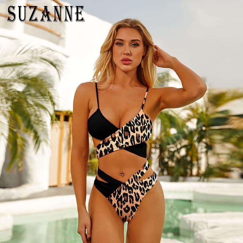 Ladies Swimsuit Bikini Set High Waist Sexy Women s Summer Leopard Print Split Cross Bar Beach Bikinis