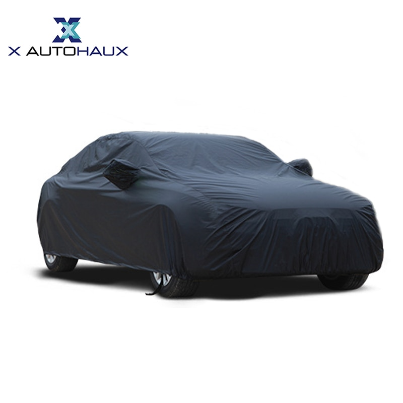X Autohaux Universal Black Breathable Waterproof Fabric Car Cover w Mirror Pocket Winter Snow Summer