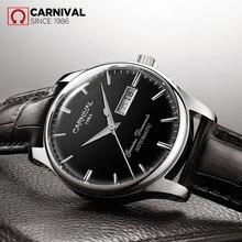 Carnaval de luxe montres mécaniques hommes daffaires Simple étanche classique en cuir automatique montre-bracelet hommes Reloj Hombre 2019