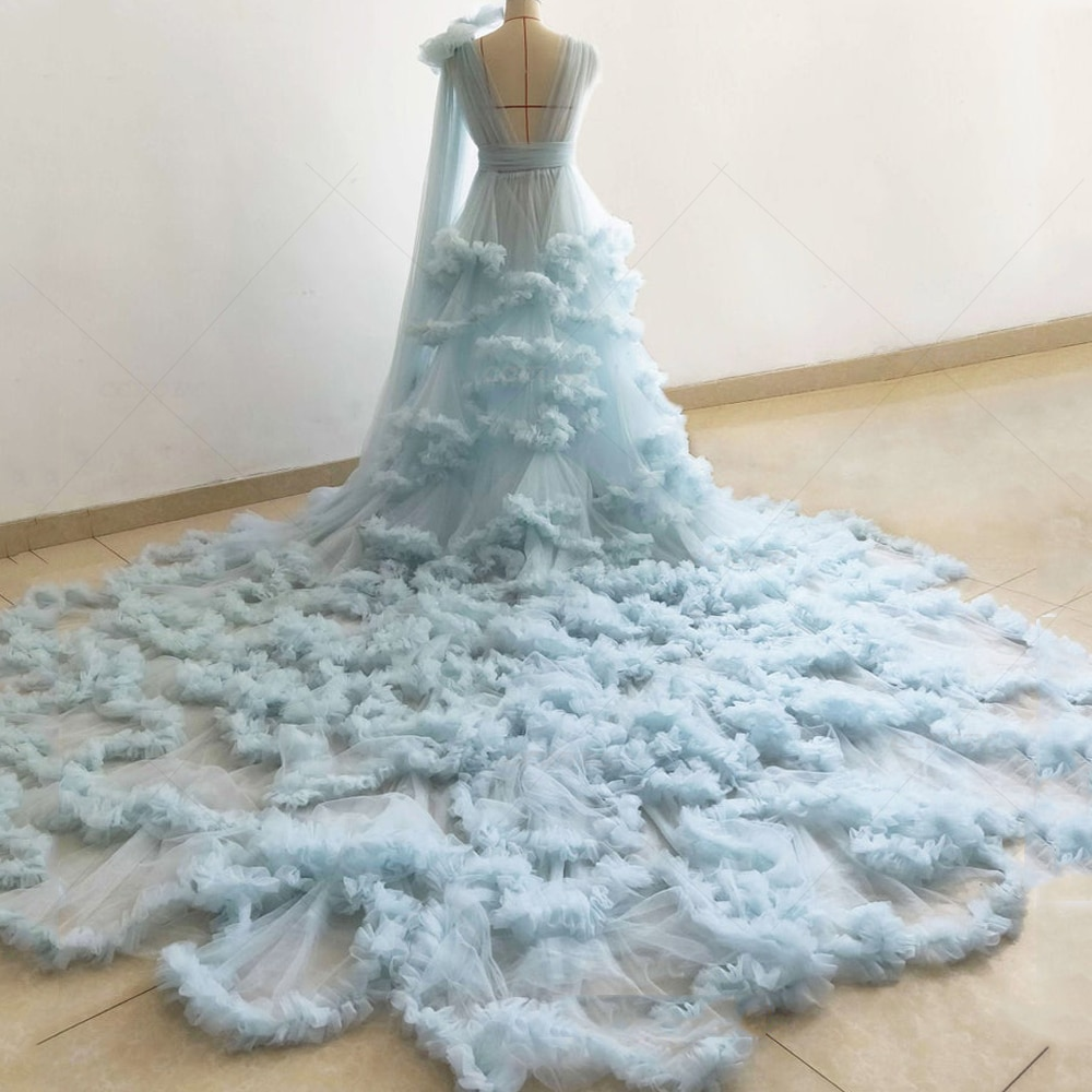 Ladies Ruffle Tulle Dress Perspective Sheer Puffy Bridal Robes Sleepwear Wedding Dressing Gown Pregnancy Photoshoot Dress