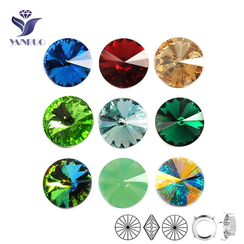 YANRUO 1122 Rivoli Sew On Round No Claws Diamond Shoes Pointback DIY Rhinestones Fancy Stones For Sewing Crystals Wedding Dress