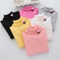 2020 new brand fashion kids clothes girls flower children sweater girls pullovers girl child basic turtleneck sweaters 2 6t baby