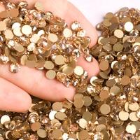 YANRUO Кристальные золотые тени, без горячей фиксации, плоские стразы, все размеры, Золотые камни, бусины, украшения для ногтей