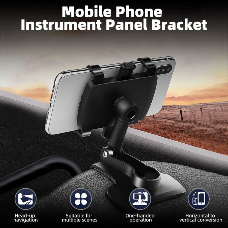 Car Mobile Phone Holder 360 Degree Stand In Dashboard Rear View Mirror Sunshade Baffle Phone Holder GPS Mount