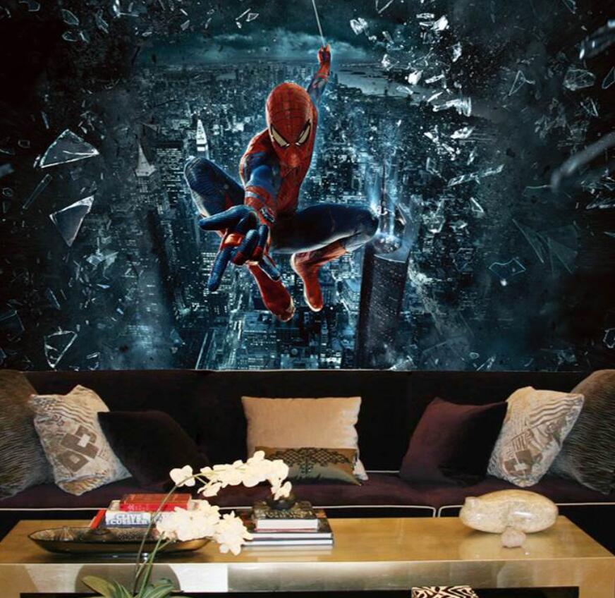 Papel pintado mural personalizado 3D mural grande spiderman Batman Iron Man personalidad papel pintado mural niños habitación Fondo dibujos animados