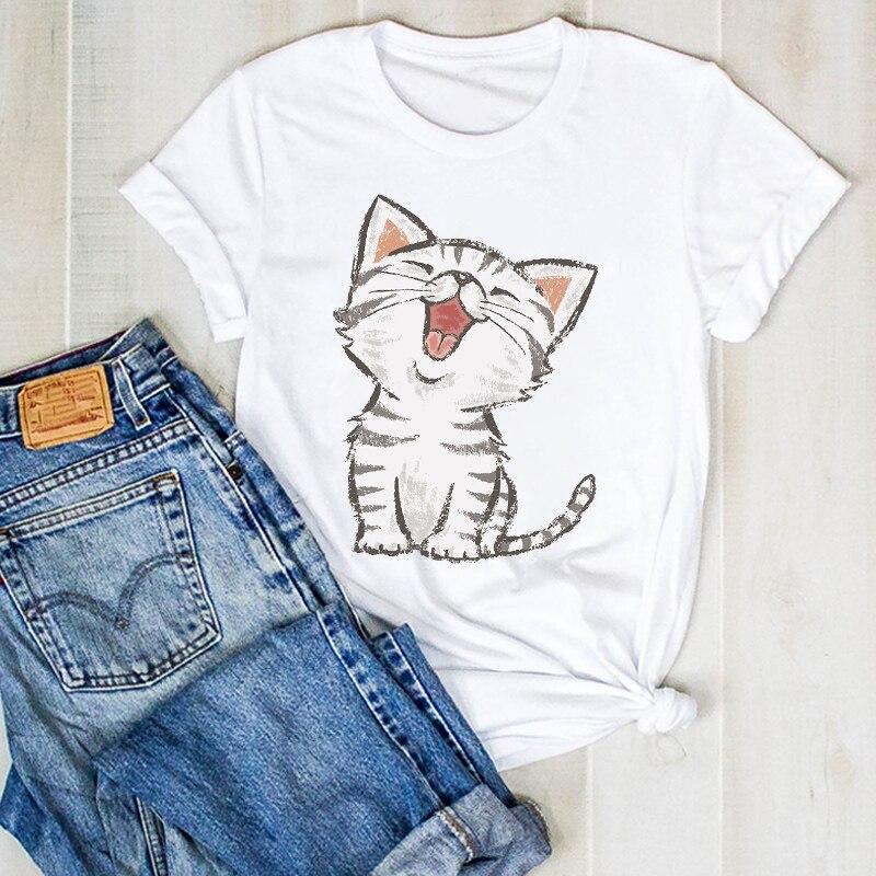 Women Lady Sloth Summer Cat Kitten Cute Cartoon Ladies T Tee Tshirt Womens Female Top Shirt Clothes Graphic Clothing T-shirt